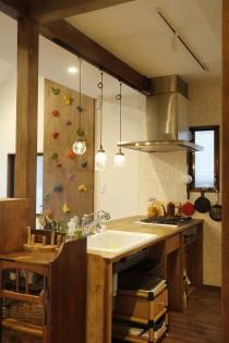 タイル壁、キッチン、DIY、キッチン収納、スタイル工房