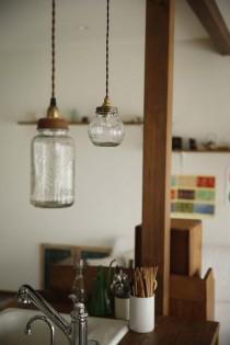 キッチン、ガラス照明、DIY、スタイル工房