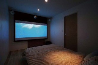 スクリーン、シアター、寝室、ベッドルーム、スタイル イズ スティルリビング