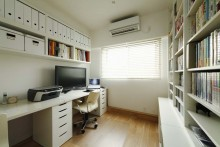 _ワークスペース、書斎、本棚、壁収納、すむ図鑑