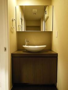 壁紙、洗面、大きな鏡、rokusa