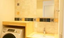 洗面台、タイル壁、洗濯機、収納、リノまま、renomama