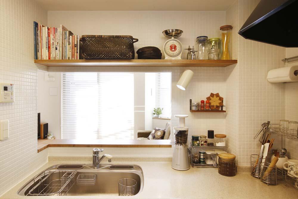 キッチン、収納、飾り棚、珪藻土、壁、スタイル工房