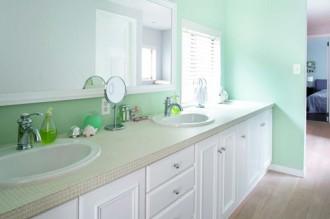 ワイド、洗面台、壁色、ミント、株式会社FILE、フィール