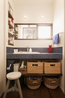 洗面所、タイル壁、内窓、脱衣所、スタイル工房