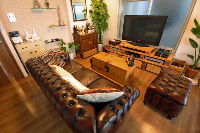 リビング、木製、ボックス、テーブル、革ソファ、リノ・ステージ