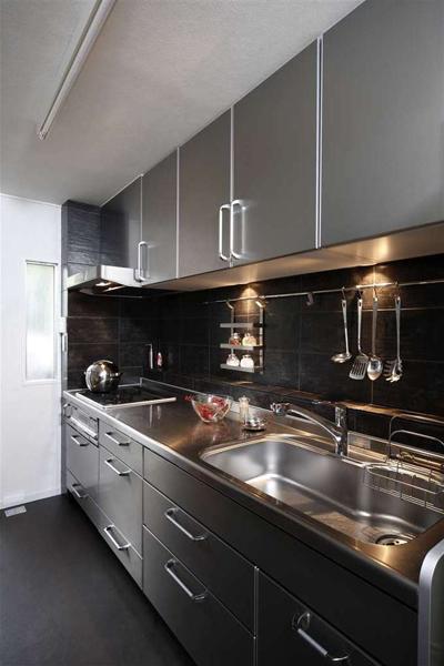 キッチン、I型、タイル、壁、ステンレス、団地リノベーション、ロハススタジオ