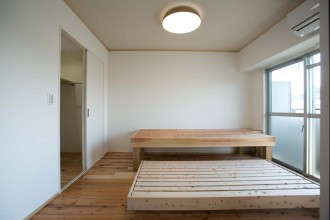 収納型、ベッド、寝室、杉材、自然素材、駿河屋