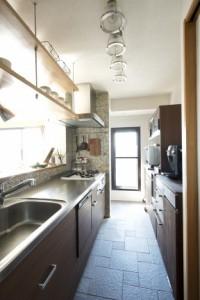 キッチン、モザイクタイル、収納、