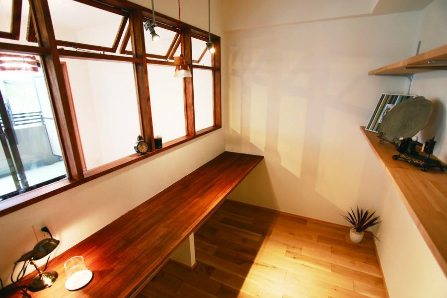 書斎、木製サッシ、特注、造作、ビートハウス、和久環組