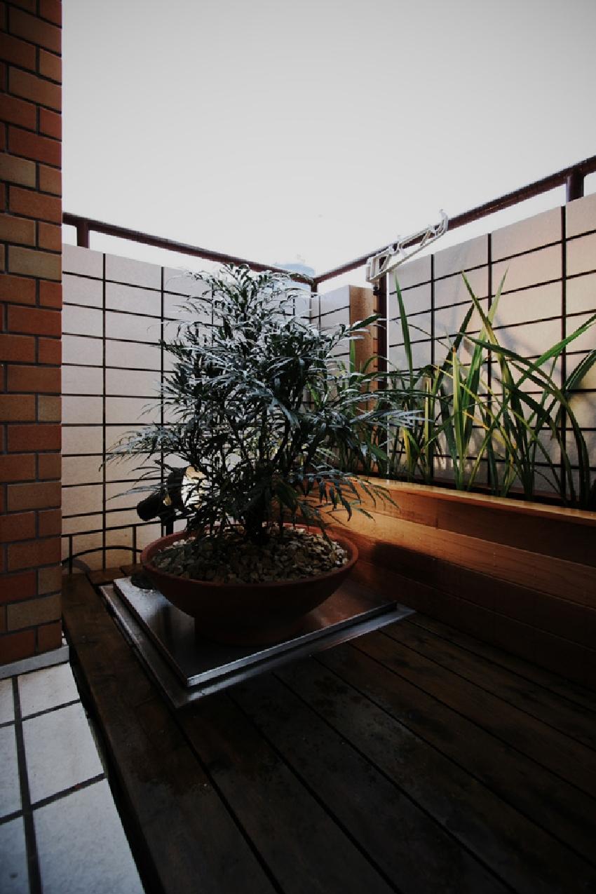 ベランダ、タイル壁、ガーデン、植物、マンション、9、ナイン