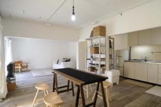 躯体現し、再利用、キッチン、古材、床、杉、スタイル工房