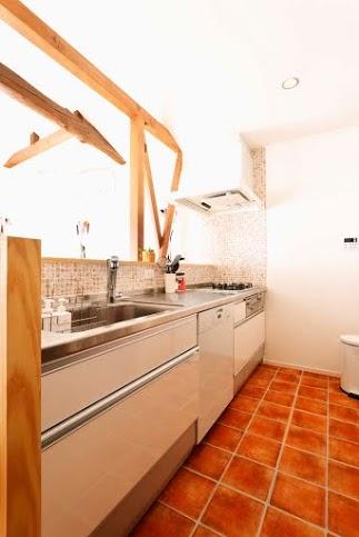 対面、キッチン、タイル、壁、床、スタイル工房