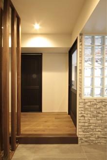 玄関、ガラスブロック、最高、タイル、リノステージ