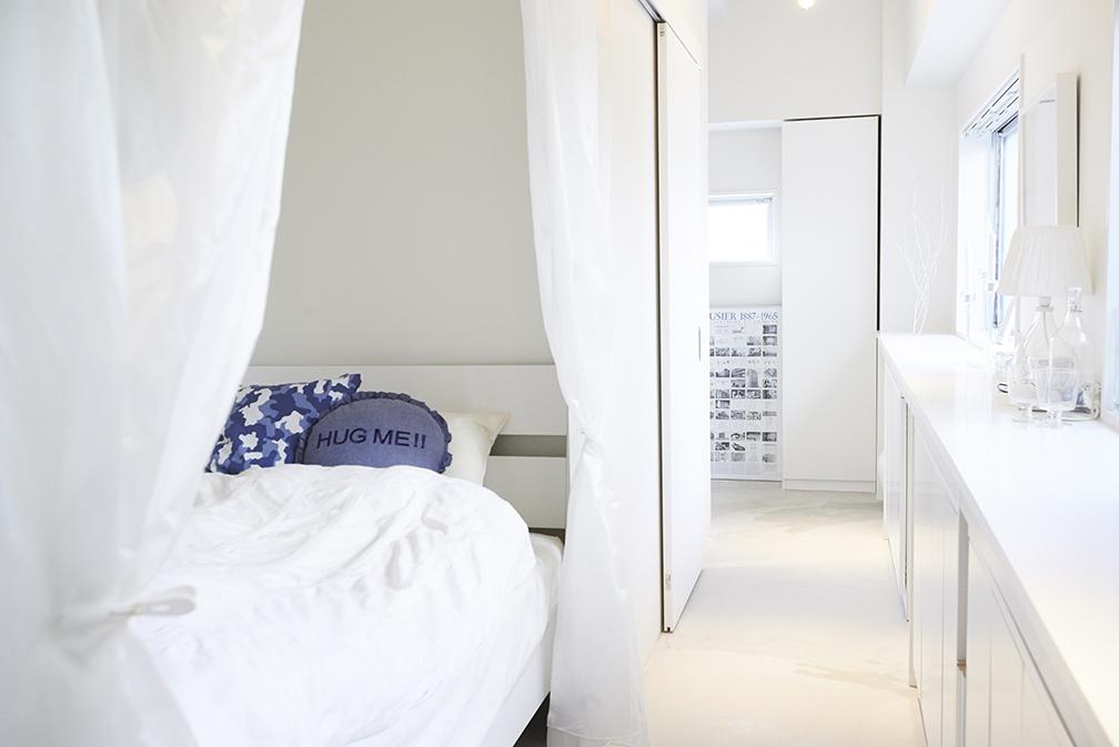ベッドルーム、可動式、間仕切り、カーテン、寝室、リノまま