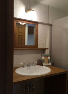 ブリックタイル、洗面、サニタリー、飾り棚、鏡、マンション、リノベーション、アズ建設