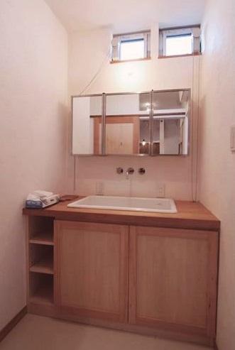 自然素材、造作、洗面台、サニタリー、戸建、リノベーション、総合建築職人会
