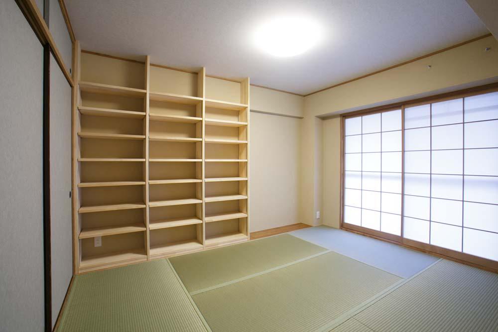 和室、畳、壁収納、棚、襖、自然素材、マンション、リノベーション、駿河屋