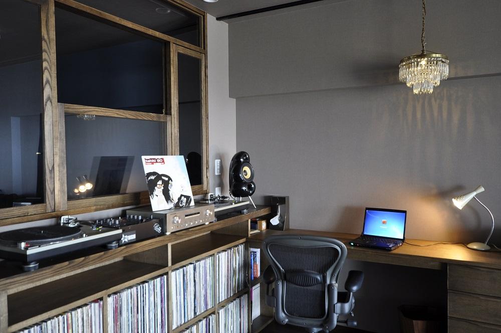 ワークスペース、造作、机、DJブース、趣味、グラデン