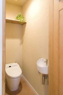 トイレ、二世帯住宅、珪藻土、壁、タイル床、実家リノベ、スタイル工房
