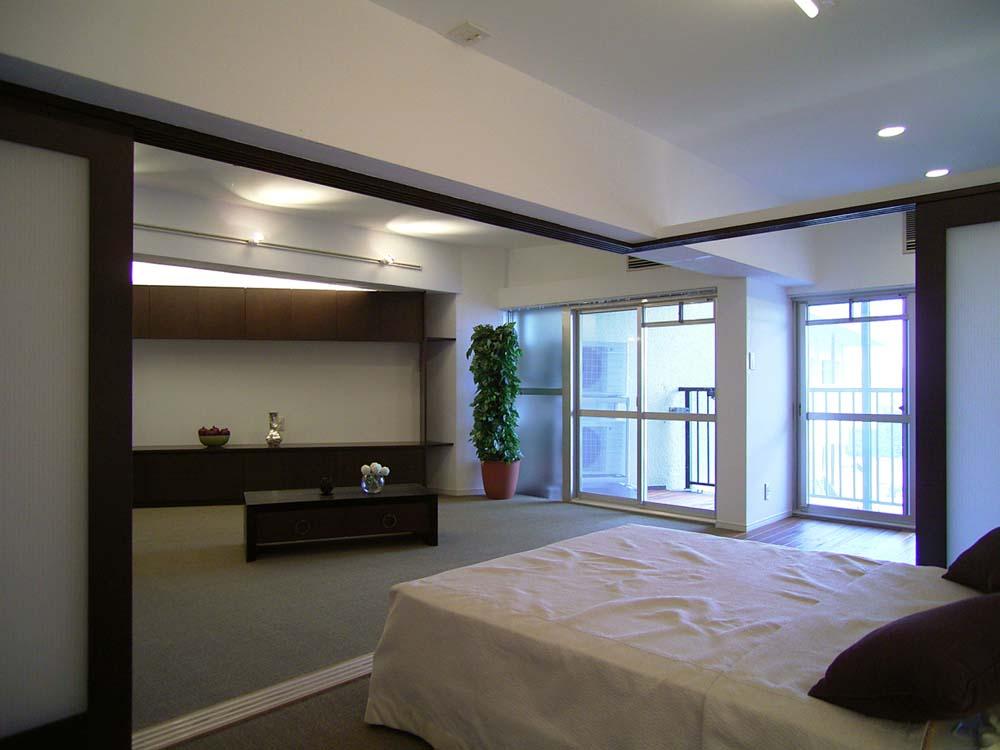 引き戸、ガラス、可動式、寝室、ベッド、エキップ