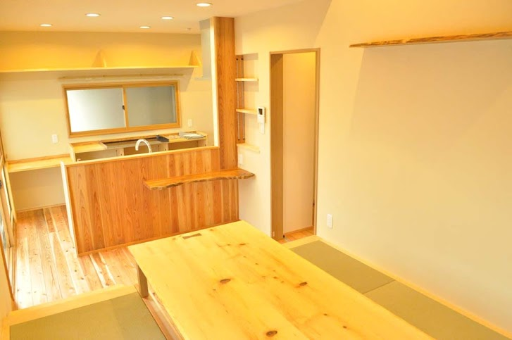 キッチン、対面、リビング、畳、掘りごたつ、戸建、リノベーション、駿河屋