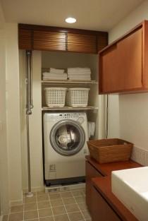洗濯機、脱衣所、ランドリー、木製、ブラインド、スタイル工房
