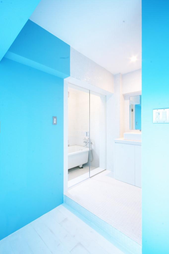 洗面、サニタリー、バスルーム、浴室、壁塗装、ナインデザイン