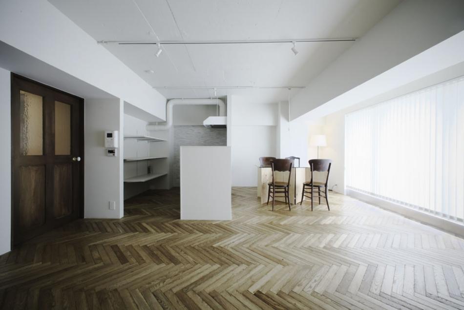 キッチン、ヘリンボーン、床、マンション、リノベーション、ナイン、9