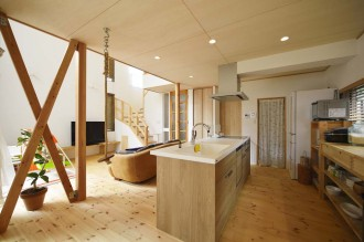 キッチン、パントリー、収納、パイン材、無垢フローリング、スタイル工房