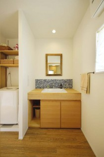 洗面、造作、カウンター、フロアタイル、洗濯機、間仕切り、スタイル工房