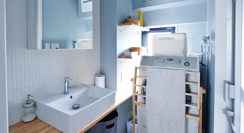 壁、タイル、洗面所、脱衣所、サニタリー、洗濯機、マンションリノベーション