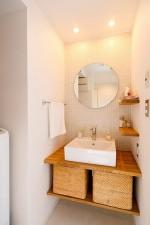洗面所、脱衣所、タイル壁、鏡、インテリックス空間設計
