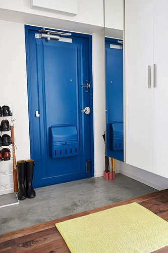 玄関、ドア、塗装、モルタル、床、インテリックス