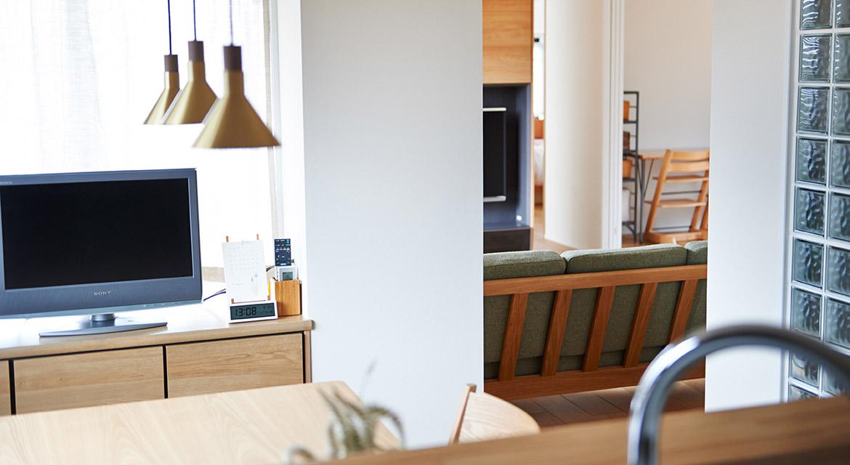 キッチン、リビング、間取り、ガラスブロック、リノベーション、インテリックス空間設計