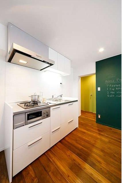 キッチン、白基調、ホワイト、台所、Ⅰ型、団地、リノベーション、intellex
