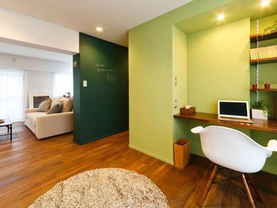 「インテリックス空間設計」のリノベーション事例「グリーンカラーがお気に入り。 団地タイプ間取りを広々とした空間へ」