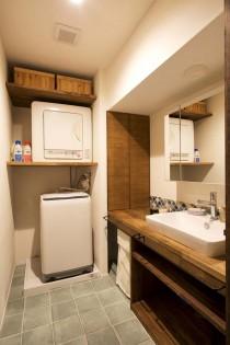 洗面室、カウンター、造作、床、磁器タイル、スタイル工房