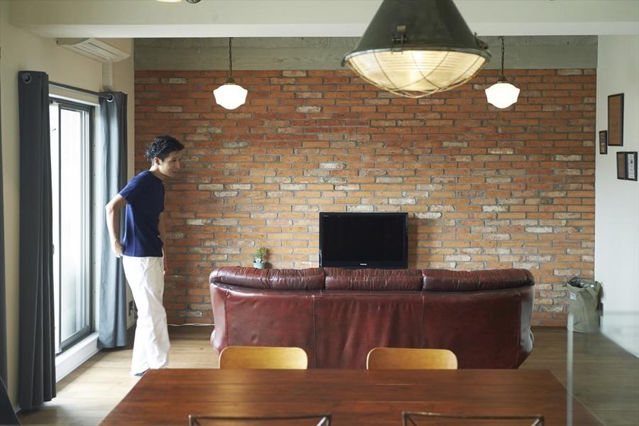 アクセント、壁、煉瓦、アンティーク、家具、マンション、ハウズライフ