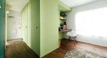 廊下、玄関、書斎、デスク、壁塗装、建具、団地、リノベーション