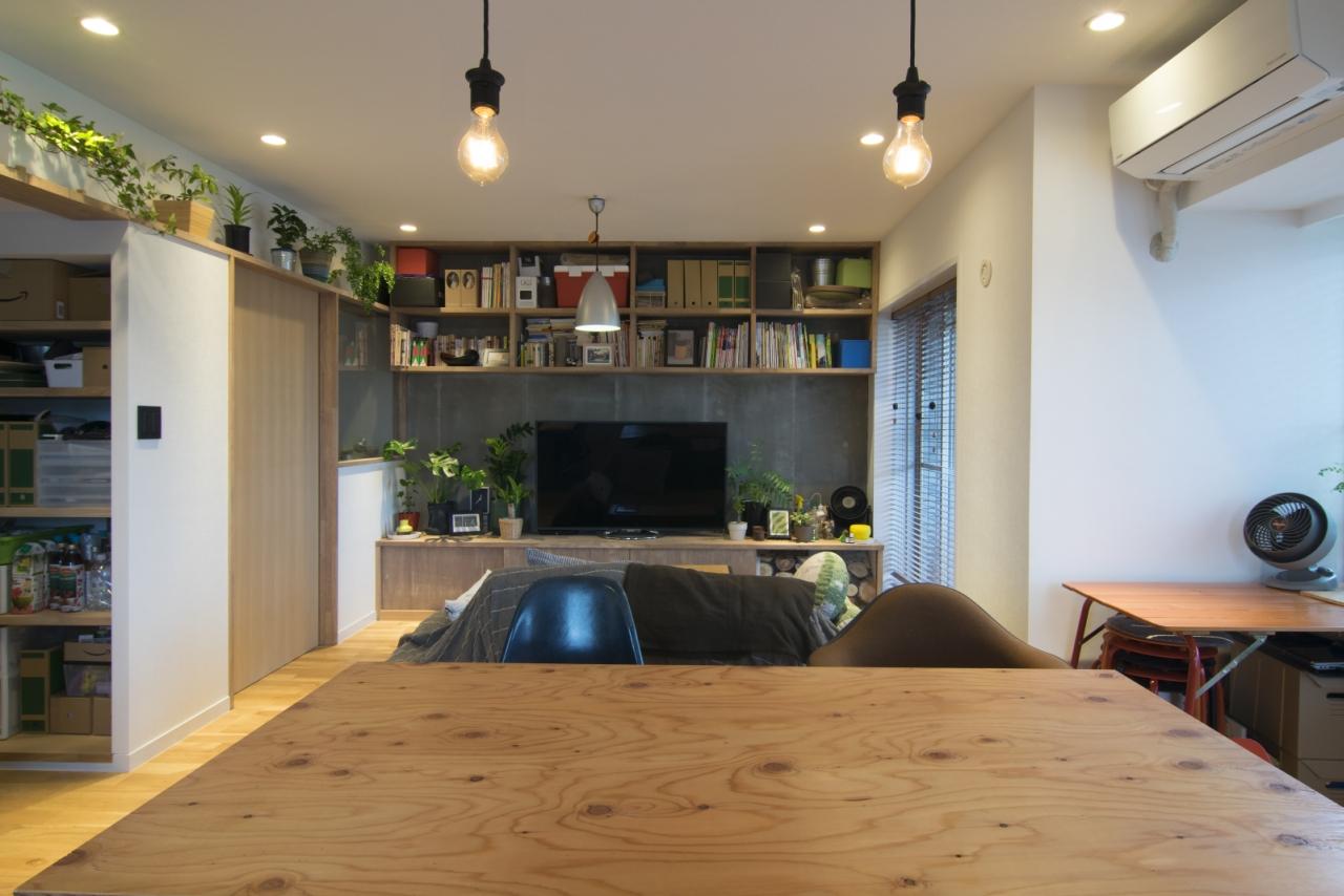 リビング、テレビ台、造作、収納、棚、マンション、エキップ