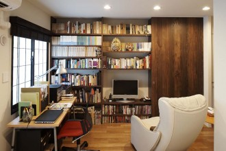 寝室、書斎、収納、本棚、蔵書、中庭、眺望、回遊、三井、リフォーム、リノベーション