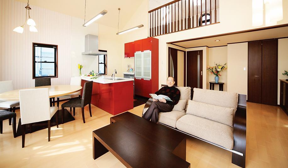 キッチン、アクセントカラー、リビングダイニング、戸建リノベーション、終の棲家、水工房