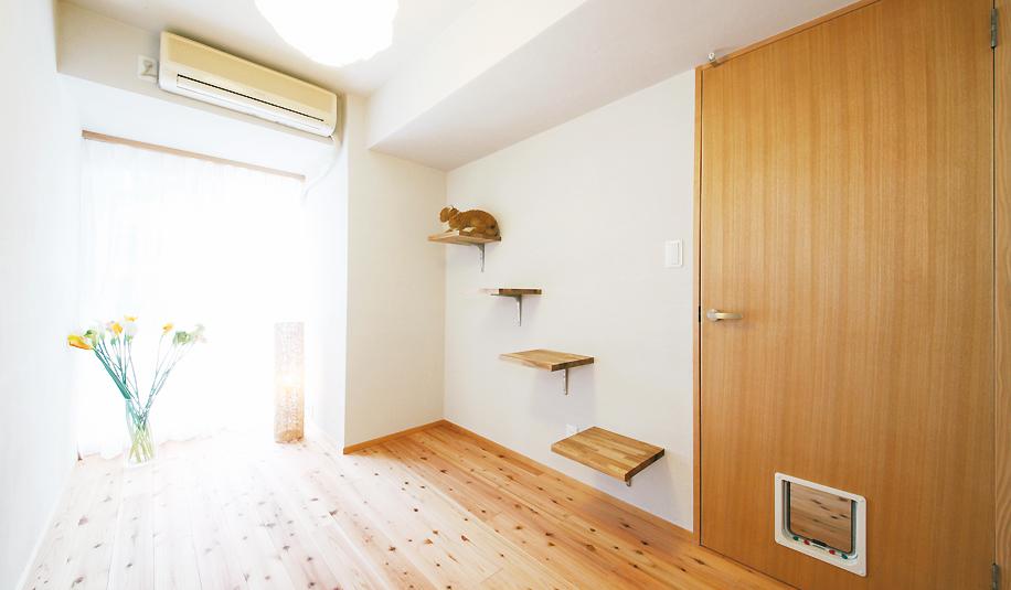 猫、キャットスペース、ステップ、建具、扉、猫部屋、自然素材