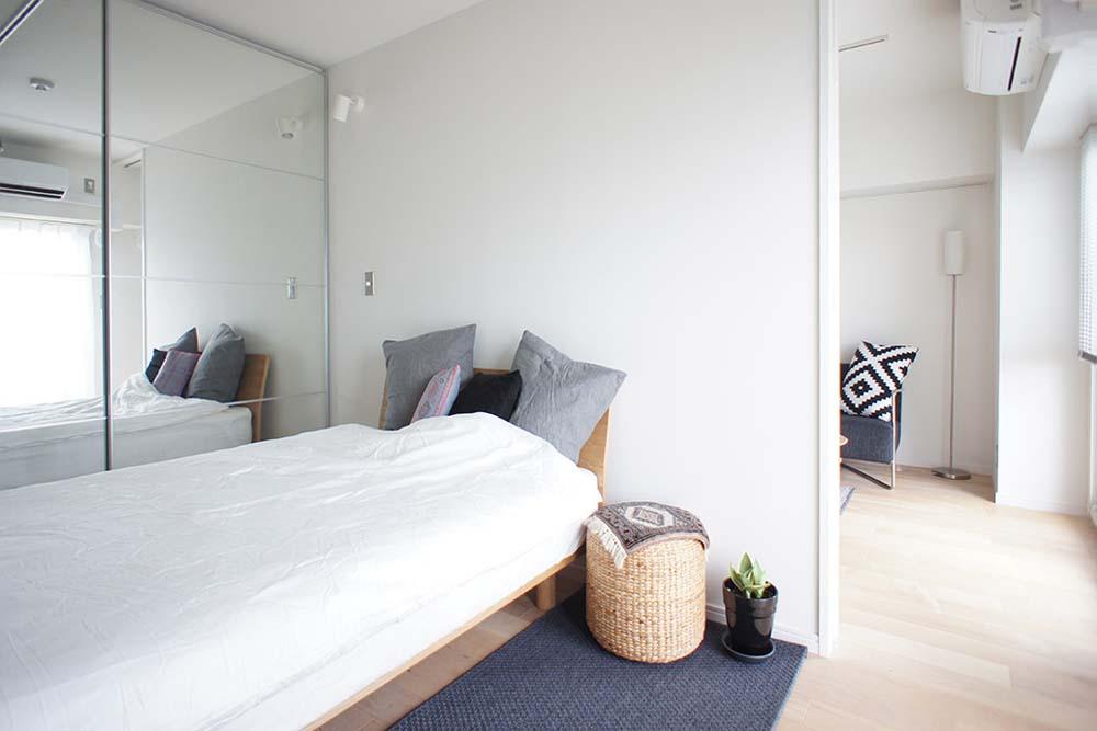 間口、寝室、ベッドルーム、マンション、リフォーム、リノベーション、空間社
