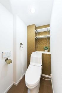 光沢、壁、クロス、壁紙、トイレ、可動棚、収納、一歩