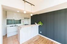 造作、キッチン、オリジナル、タイル床、Ⅰ型、リノベの一歩