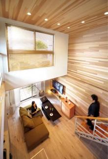 壁、天井、レッドシダー、板張り、無垢材、自然素材、ダウンライト、照明、リノベーション、Beathouse