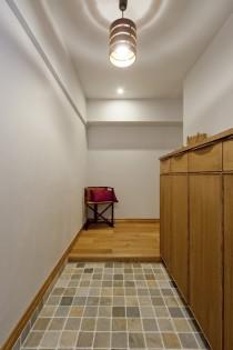 玄関、タイル、床、フレンチ、シューズボックス、マンション、リノベーション、グラデン