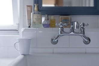 浴室、鏡、洗面台、ミラー、パウダールーム、タイル、グラデンパシフィック